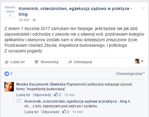 Źródło: Facebook - Komornik, orzecznictwo, egzekucja sądowa w praktyce - blog